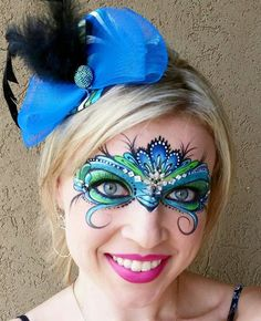 Discover recipes, home ideas, style inspiration and other ideas to try. Peacock Face Painting, Adult Face Painting, Mask Painting, Face Painting Designs, Masquerade Makeup, Mask Face Paint, Carnival Makeup, Maquillage Halloween, Face Design