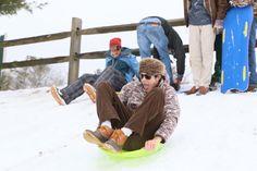 Students enjoying a fresh snowy day in February