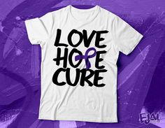 Fibromyalgia Epilepsy Alzheimers Cystic Fibrosis Pancreatic Cancer Chiari Crohns Domestic Violence Colitis Lupus Purple Awareness T-shirt by EjaiDesigns on Etsy https://www.etsy.com/listing/241281980/fibromyalgia-epilepsy-alzheimers-cystic