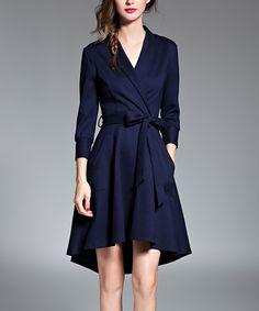Look what I found on #zulily! Coeur de Vague Navy Hi-Low Wrap Dress by Coeur de Vague #zulilyfinds