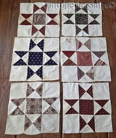 Set of 6 Antique Civil War Era OHIO Star Quilt Blocks 10x10