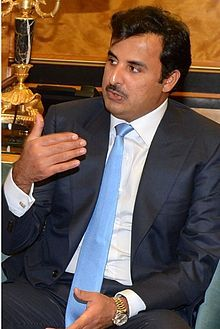 Sheikh Tamim bin Hamad bin Khalifa Al Thani (Arabic: الشيخ تميم بن حمد آل ثاني‎; born 3 June 1980) is the eighth and current Emir of the State of Qatar. He is the fourth son of the previous Emir of Qatar, Sheikh Hamad bin Khalifa Al Thani. He became Emir of Qatar on 25 June 2013 after his father's abdication. Sheikh Tamim has held a variety of government posts within Qatar and also worked to promote numerous sporting events within the country.