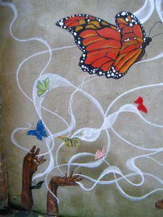 Outdoor mural, North London Women's Hostel, 2013; detail.
