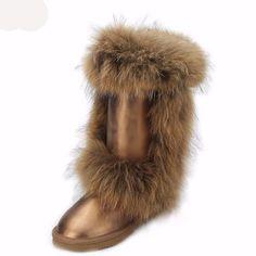 Fashionable Women s fox fur knee high winter boots - waterproof genuine cow  leather boots Winter Snow ab2da76142b3