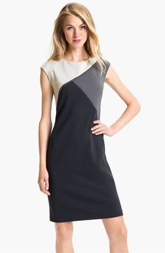 Adrianna Papell Colorblock Sheath Dress (A great neutral dress with a cool pattern)