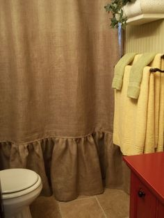 Ruffled Bottom Burlap Shower Curtain