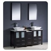 """Found it at Wayfair - Torino 60"""" Modern Double Sink Bathroom Vanity Set with Side Cabinet and Vessel Sinks"""