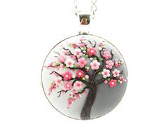 Flor de cerezo Sakura-collar árbol de la vida colgante árbol de la vida joyería Floral colgante collar árbol collar