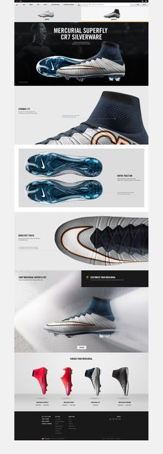 Category work for the world's most popular sport. Nike.com/soccer covers landing pages, innovation stories, athlete editorials and product destinations. Created at Nike. Design collaboration with Aaron Mebesius