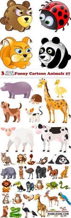 Мультяшные животные дикой природы в векторном клипарте | Funny Cartoon Animals 27