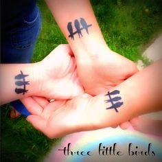 three little birds bff tattoos bob marley ...missi, summer and beth...BFL