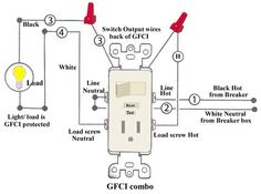 how to wire switches combination switch outlet light fixture turn rh pinterest com light switch receptacle combo wiring diagram installing gfci receptacle / switch combo