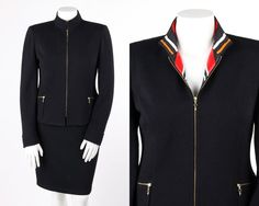 ST JOHN Collection 2 Pc Black Santana Knit Jacket Blazer Skirt Suit Dress Set 12 #StJohn #SkirtSuit