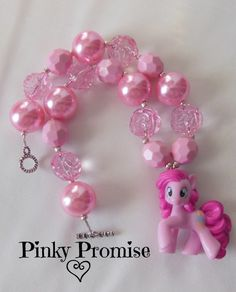 "Pinky Promise ""Pinkie Pie"" My Little Pony toddler/child chunky bead necklace $23.00"