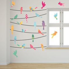 Watercolor Birds On A Wire Peaceful, inviting, beautiful, unique...how else can we describe these lovely watercolor bird Wall Decalss? Add...