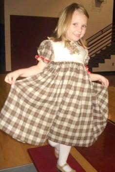 Viyella dress with tatting and linen ME button-on bib
