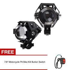 "2PCS 125W 3000LM High Power Cree U5 LED Motorcycle Head Light Driving Spot Fog Lamp Buy 1 Get 1 Free 7/8"" Motorcycle Pit Bike Kill Button Switch"
