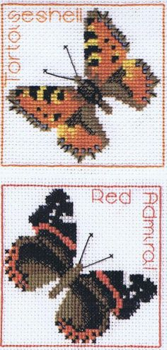 Tortoiseshell & Red Admiral Butterflies Coaster Cross Stitch Kit (2 Designs)