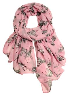 Zebra Crossing Scarf, Pink/Ivory | Wild Things | One Kings Lane