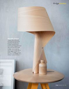 the air lamp, made with a single strip of paper-thin beach ply. on bluepoolroad: delicate grain. Lamp Design, Wood Design, Lighting Design, Table Lamp Wood, Wooden Lamp, Luminaria Diy, Living Etc, Table Lamps For Bedroom, Light My Fire