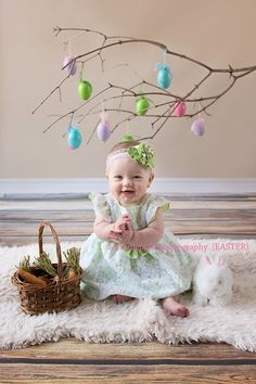 Easter photos don& have to be complicated. A branch with a few eggs forms the . - Easter photos don& have to be complicated. A branch with a few eggs forms the perfect backdro - Photography Mini Sessions, Holiday Photography, Spring Photography, Photography Backdrops, Logos Photography, Children Photography, Baby Girl Photos, Baby Pictures, Easter Pictures For Babies