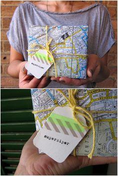 Map wrapping & washi tape tag via superziper