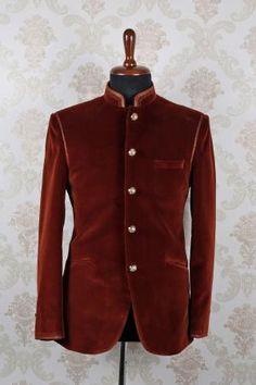 Brown suede slim fit astonishing suit with mandarin collar -ST396 - Designer Suits - Men's Suits - Men's Wear by Samyakk