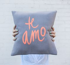 grey and neon coral te amo pillow