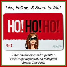 Like & Follow FrugaLattes on FB & IG to win a $50 Amazon Gift Card!  Don't forget to Follow them on Pinterest for some AWESOME deals, freebies, & giveaways!