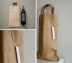 Wine bag made out of a Trader Joe's Bag // www.happinessiscreating.com