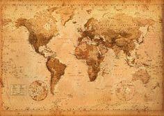 Poster XXL Mappemonde (Carte du monde) Style ancien/vintage (140cm x 100cm): Amazon.fr: Cuisine & Maison