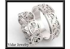 ON SALE 10% OFF His And Hers Leaf 14K White Gold Matching Wedding Bands Set - TheWeddingMile.com
