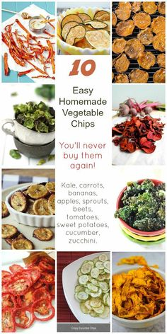 10 healthy homemade snacks. Vegetable and fruit chips or crisps as Kale, carrots, bananas, apples, sprouts, beets, tomatoes, sweet potatoes, cucumber and zucchini (courgette). You have to try them!