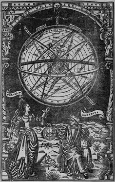 Illustration Of Oronce Fine, Astronomy Personified And An Armillary Sphere, 1542 Site Image, Esoteric Art, Occult Art, Sacred Geometry, Vintage Prints, Magick, Collage Art, Sketches, Poster Prints