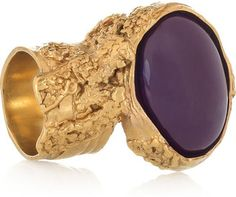 ShopStyle: Yves Saint Laurent Arty gold-plated glass ring