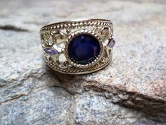 Blue Sapphire Ring Blue Ring Fine Jewelry Blue by CaravanOfBeads, $175.00