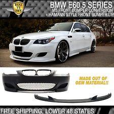 04-07 BMW E60 5 Series Pre-LCI M5 Style Front Bumper Conversion + H Style Lip