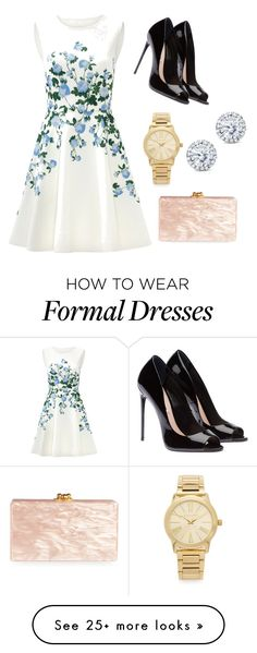 """""""Semi formal or formal outdoor party outfit"""" by nandanuta on Polyvore featuring ERIN Erin Fetherston, Michael Kors, Kobelli and Edie Parker"""