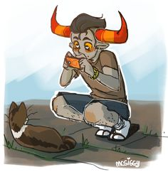 Tavros is taking pictures of every cat he finds on the street.
