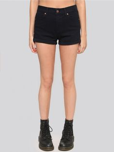 Deep blue shorts cut in a high waist fit. Super stretchy with five-pocket styling, zipper/button closure, and a cuffed bottom hem. Looks perfect with crop tops!