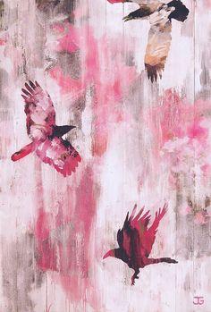 Jauss & Gauger: FylgjurFF Drei Krähen. #Mischtechnik auf Holz #Krähen #Raben #rosa #Vögel  #Silhouette #crow #birds #pink #jaussgauger #München #Munich #Malerei #painting #startyourart www.startyourart.de