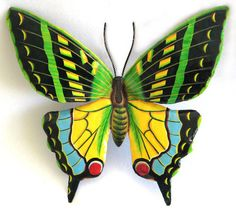 TROPICAL HOME DECOR -  Large Green Butterfly Metal Wall Hanging  34 inch Hand by TropicAccents, $89.95  - Haitian steel drum art - Painted tropical design