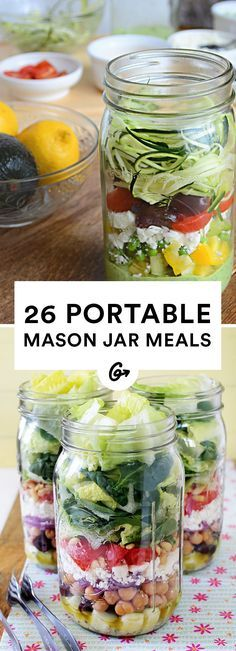 Make it easy to eat portion-control meals on the go. Plus, some of these recipes don't need any cooking at all! #masonjar #recipes http://greatist.com/eat/mason-jar-recipes