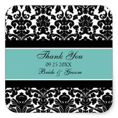 Teal Damask Thank You Wedding Favor Tags Stickers