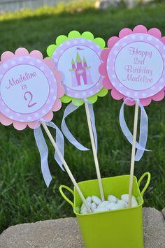 3 Centerpiece Sticks - Girls Princess Birthday Decorations - Pink and Green Polka Dots. $10.00, via Etsy.