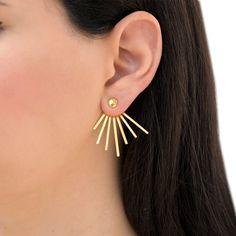Gold spike earring jackets, ear jacket earrings, wife gift, statement earrings, front back earrings, double sided earrings, modern earrings