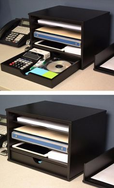 This Desktop Organizer provides four shelves and one large drawer for flexible storage of files and desk supplies. The sliding door on top pulls out and closes in front to easily hide contents when you want a clean look.