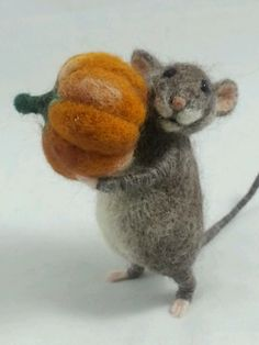 OOAK Needle Felted 4in Gray Mouse Animal Sculpture with Pumpkin by Tatiana Trot | eBay