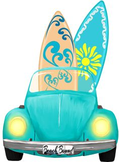 VW bug and surf boards Hawaian Party, Beach Clipart, Surf Art, Luau Party, Vw Bus, Volkswagen, Beach Art, Impreza, Tahiti