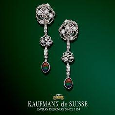Diamond & Ammolite Drop Earrings from Kaufmann de Suisse in Palm Beach. Palm Beach Florida, Diamond Rings, Diamond Jewelry, Gemstone Rings, Jewelry Showcases, Custom Jewelry Design, Belly Button Rings, Jewelery, Fine Jewelry